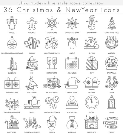 ultra modern: Christmas and Happy New Year ultra modern outline line icons for apps and web design. Christmas symbols for app and web Illustration