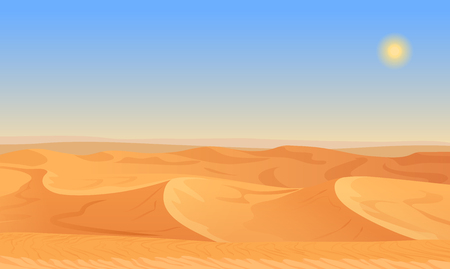 Cartoon nature empty sand desert landscape illustration