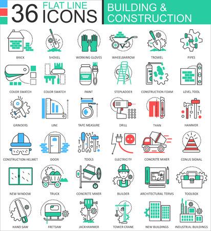 Construcción y construcción de herramientas modernas iconos de contorno de línea plana de color para aplicaciones y diseño web