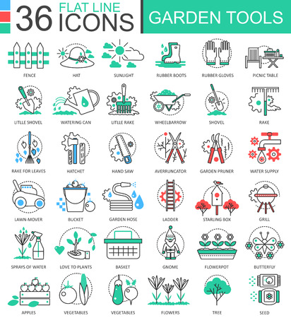 bucket and spade: Garden tools modern color flat line outline icons for apps and web design