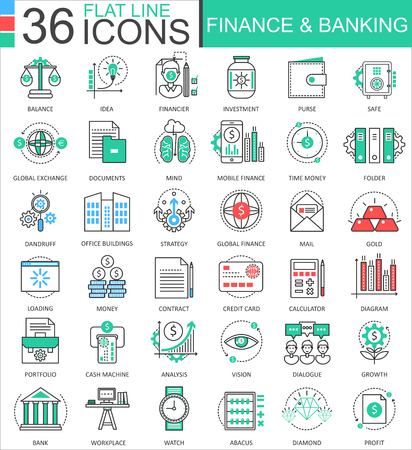 Finance and banking modern color flat line outline icons for apps and web design