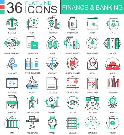 Finanzas y banca iconos de contorno de línea plana de color moderno para aplicaciones y diseño web