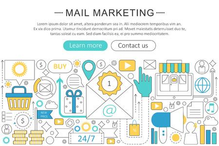 mail marketing: elegant thin line flat modern Mail marketing concept. Website header banner elements layout. Illustration