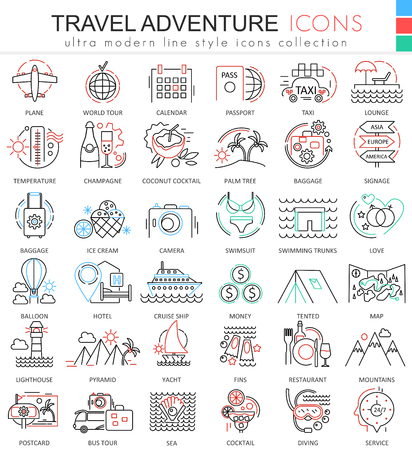 ultra modern: Travel adventures ultra modern outline line icons for apps and web design. Travel symbols for app and web