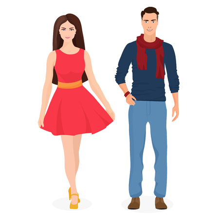 Beautiful young couple together. Cartoon students in fashion clothes. Male and female couple Иллюстрация