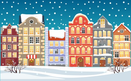 Christmas town illustration. Xmas snowy old town. Cartoon buildings. Christmas background. City street at Winter. New Year greetings card