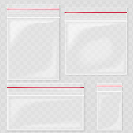 空の透明なプラスチック ポケット バッグ。空白の真空チャック袋。transperant バック グラウンド on ポリエチレン コンテナー