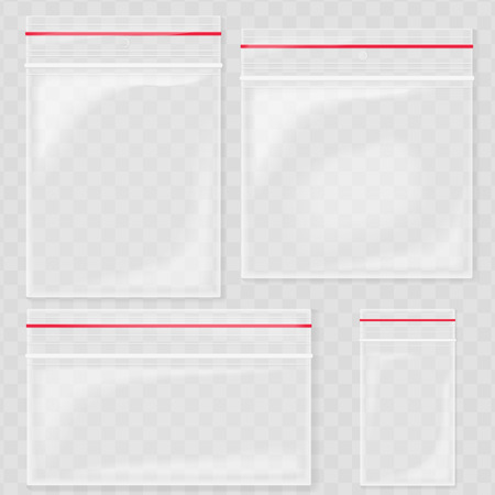 Empty Transparent Plastic Pocket Bags. Blank vacuum zipper bag. polythene container set on the transperant background