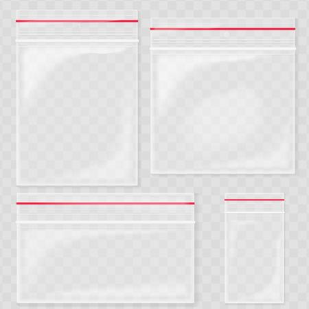 Empty Transparent Plastic Pocket Bags. Blank vacuum zipper bag. polythene container set Illustration