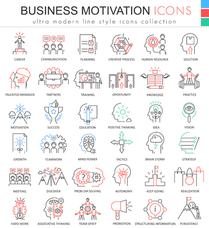 potential: Vector Business motivation ultra modern color outline line icons for apps and web design Illustration