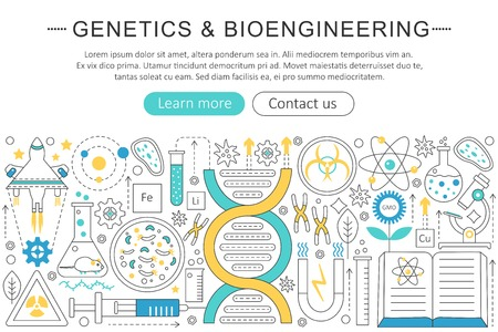 Vector elegante dunne vlakke lijngenetica en bioengineeringconcept. Website header banner elementen lay-out. Presentatie, flyer en poster Stock Illustratie