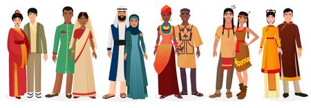 La gente en la ropa de vestir tradicionales nacionales. Los matrimonios internacionales. Nativo de América, Japón, China, musulmán árabe, la india, la gente a África a crear juntos