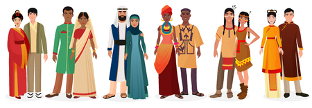 People in national traditional dress clothes. International couples. Native america, japan, china, muslim arabian, india, africa people together set