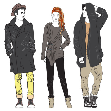 Fashion man and woman sketch illustration. Fashionable street guy and girl Illustration