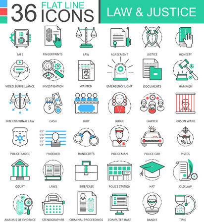 Vector Law and justice color flat line outline icons for apps and web design. Justice elements