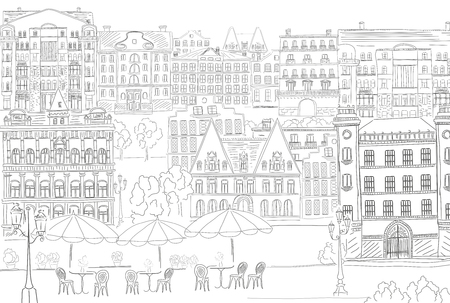 building sketch: Historic old buildings line style. Outline old city life building. Architectural sketch