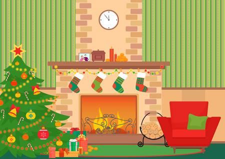 Christmas livingroom flat interior vector illustration. Christmas New Year tree and fireplace with socks. Christmas wall pattern 일러스트