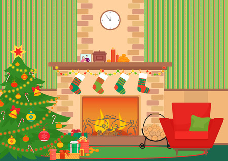 Christmas livingroom flat interior vector illustration. Christmas New Year tree and fireplace with socks. Christmas wall pattern
