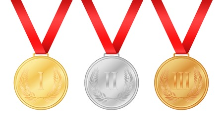 laurel leaf: Three olympic games medals. Gold medal. Silver medal. Bronze medal. Laurel leaf on medal. Championship award
