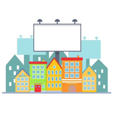 bill board: Big blank urban billboard over small city town street buildings. Cartoon Billboard advertisement commercial blank