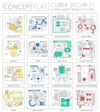 Infographics mini concept Cyber security icons for web. Premium quality design web graphics icons elements. Cyber security technology concepts 일러스트