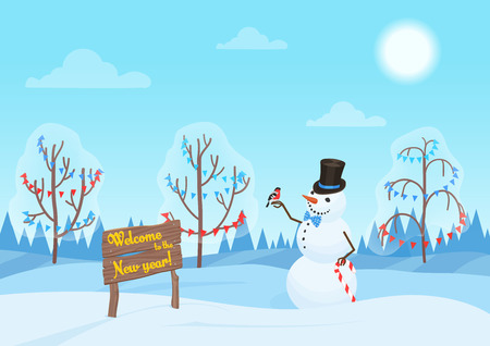 Greeting Christmas card, snowman in the forest. Happy New Year holidays. Alone Snowman in the woods