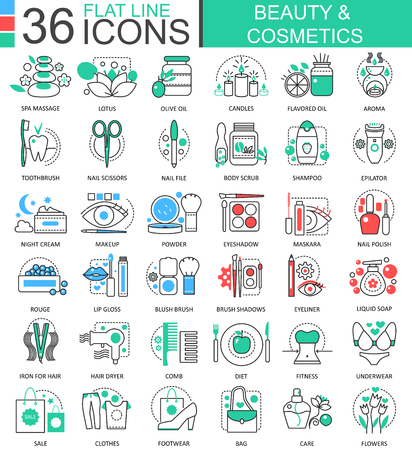 Vector Beauty cosmetics flat line outline icons for apps and web design. Beauty cosmetics tools icon