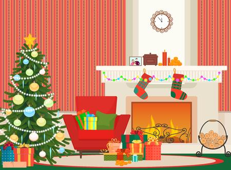 Flache Innenvektorillustration des Weihnachtswohnzimmers. Weihnachtsneuer Baum, roter Lehnsessel und Kamin mit Socken. Rotes Muster der Weihnachtswand