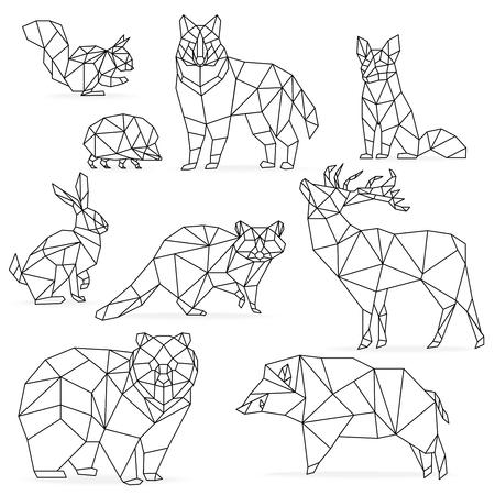 낮은 폴리 라인 동물 세트. 종이 접기 poline 라인 동물. 늑대 곰 사슴 멧돼지 여우 너구리 토끼 고슴도치 일러스트