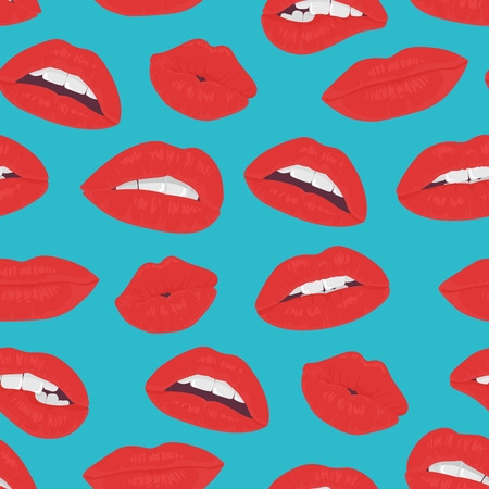 kiss lips: Vintage red lips kiss seamless pattern on the blue background. Passion kiss lips