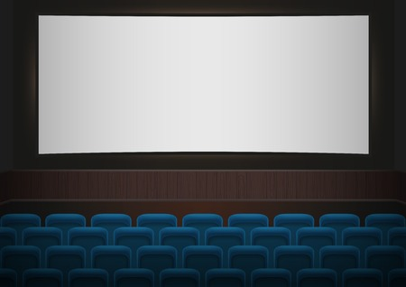 theater seats: Interior of a cinema movie theatre. Blue cinema or theater seats in front of white blank screen. Empty Cinema auditorium vector background.