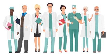 病院医療スタッフ一緒にチーム ドクター。医師や看護師の人の文字のグループを設定します。