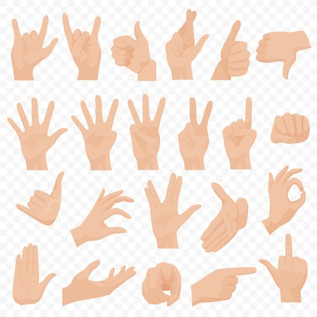 Realistic human hands icons and symbols set. Emoji hand icons. Different gestures, hands, signals and signs emotions vector illustration.  イラスト・ベクター素材