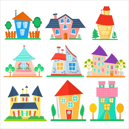 lighthearted: Cute cartoon houses collection. Funny colorful kid vector house set. Illustration