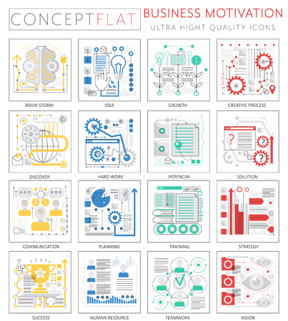 Infographics mini concept business motivation icons for web. Premium quality design web graphics icons elements. Business motivation discipline concepts.