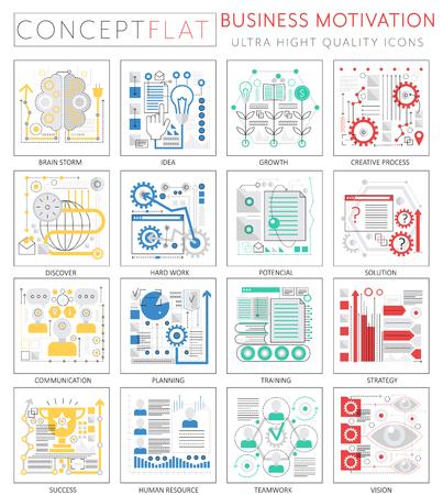 Infographics mini concept zakelijke motivatie iconen voor web. Premium kwaliteit ontwerp web grafische pictogrammen elementen. Zakelijke motivatie discipline concepten. Stock Illustratie