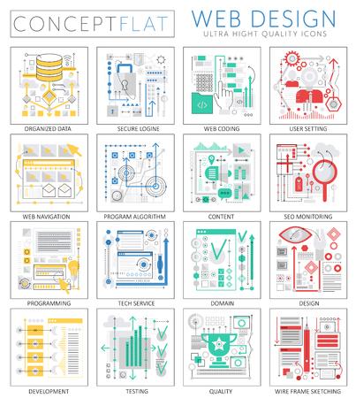 Infographics mini concept Web design icons for web. Premium quality design web graphics icons elements. Web design concepts.