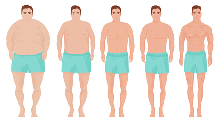 Man diet concept. Men slimming stage progress. Male before and after a diet.