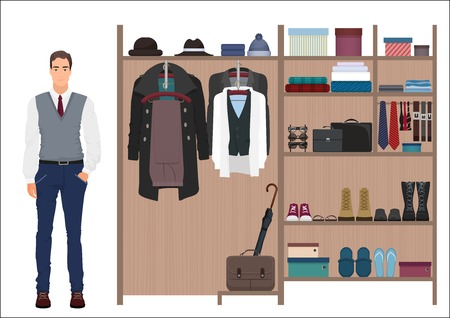 スタイリッシュなファッションの男とメンズのワードローブ。ベクトル メンズ ドレッシング ルーム デザイン。服や靴はハンガー。