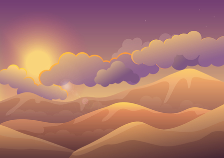 Mountains at sunset with color clouds. Sunrise landscape.