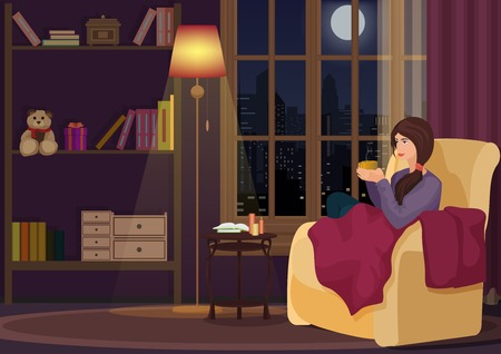 chear: Young woman at home sitting in soft chear relaxing in her living room and drinking coffee or tea. Girl rests in night interior.