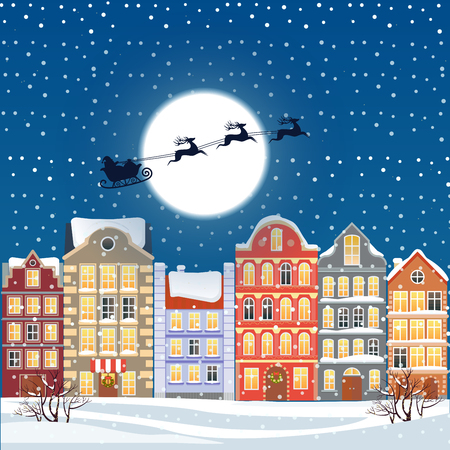 santa sleigh: Santa flying through the night sky under the christmas old town illustration. Cartoon buildings background. City street at Winter. New Year greetings card.