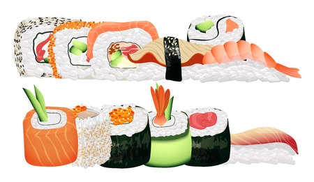 nori: Japanese seafood sushi rolls group. Healthy asian sushi food in restaurant menu. Illustration