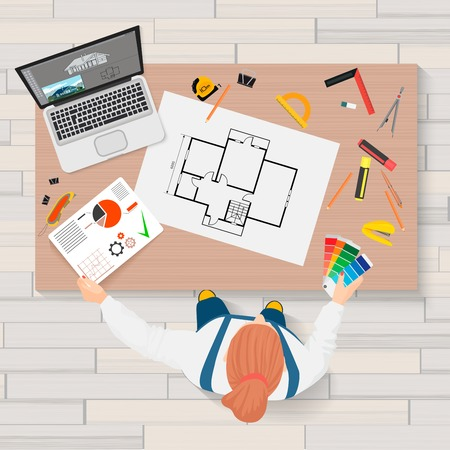 Architect construction engineering planning and creating process with proffesional tools workplace. Projects technical concept. Builder Workplace top view.