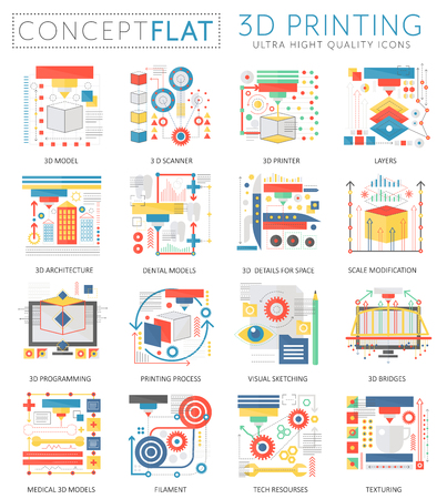 Infographics mini concept 3d printing technology icons for web. Premium quality color conceptual flat design web graphics icons elements. 3d printing concepts.