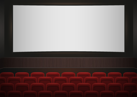 auditorium: Interior of a cinema movie theatre. Red cinema or theater seats in front of white blank screen. Empty Cinema auditorium vector background.