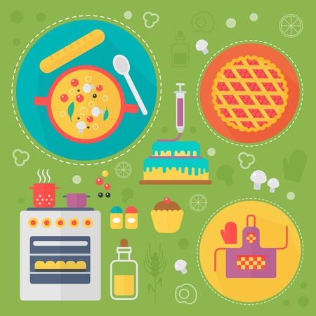 Modern cooking love flat concept. Kitchen tools and cooking food infographics design, web elements, poster banners.