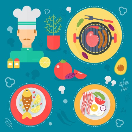 Modern cooking love flat concept. Kitchen tools and cooking love infographics design, web elements, poster banners Illustration
