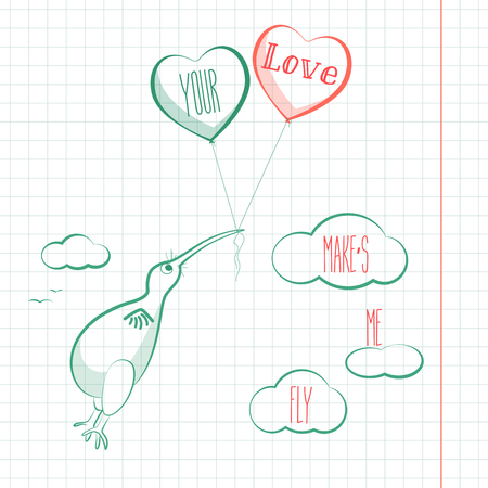 Happy valentines day card with kivi bird, baloons and hearts. Valentine Love vector.