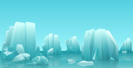 Cartoon nature winter arctic ice landscape with iceberg, snow mountains rocks hills. Vector game style illustration. Vettoriali
